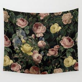 Vintage Roses and Iris Pattern - Dark Dreams Wall Tapestry