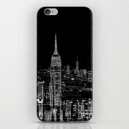 Contemporary Elegant Silver City Skyline Design iPhone Skin