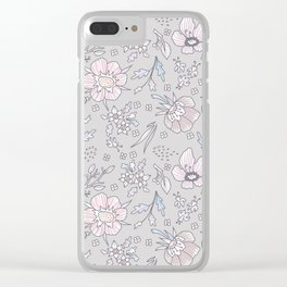 """Floral rustic pattern in pastel colors """"Relax and bloom"""" Clear iPhone Case"""