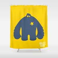 bigfoot Shower Curtains featuring Bigfoot Logo by Grizzly Good