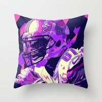 nfl Throw Pillows featuring CALVIN JOHNSON // NFL  GRIDIRON ILLUSTRATIONS by mergedvisible