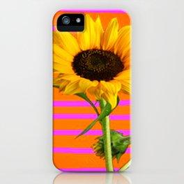 YELLOW SUNFLOWER MODERN  PURPLE ART iPhone Case