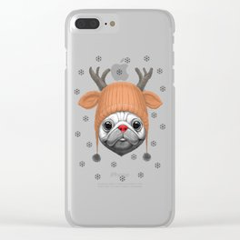 Pug Rudolph Clear iPhone Case