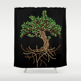 Rope Tree of Life. Rope Dojo 2017 black background Shower Curtain