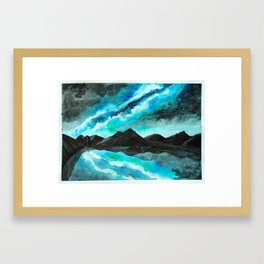 Reflected Galaxy in Mountain Lake Framed Art Print