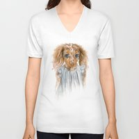 puppy V-neck T-shirts featuring Puppy by Leslie Evans