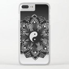 Yin and Yang Mandala (Black & White) Clear iPhone Case