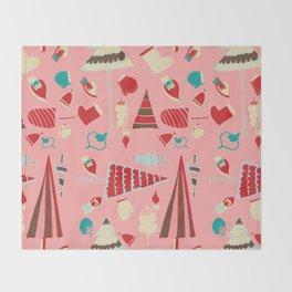 Vintage Christmas Pink Throw Blanket