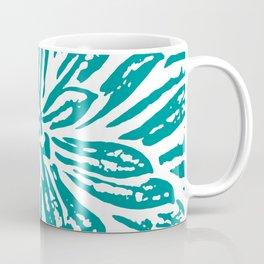 Blue Linocut Flower Textile Coffee Mug