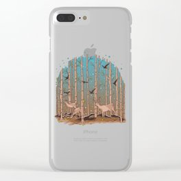 Birch Trees with Birds And Deer Clear iPhone Case