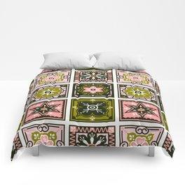 Talavera Mexican Tile – Blush & Sage Palette Comforters