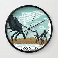 mass effect Wall Clocks featuring Mass Effect - Sass Effect by calicoJill