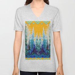 Western Gold  Modern Art Mountain Trees Blue  Art Unisex V-Neck