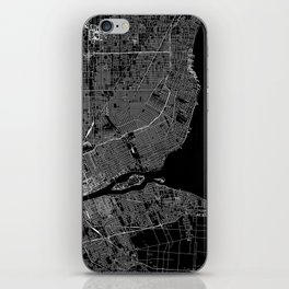 Detroit Black Map iPhone Skin