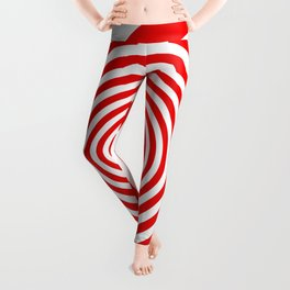 Red and White Spiral Leggings