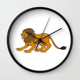 Angry Lion Crouching Side Cartoon Wall Clock
