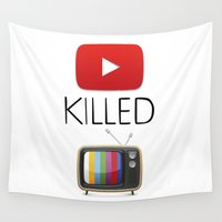 youtube Wall Tapestries featuring YouTube Killed the TV by LifeQuotes
