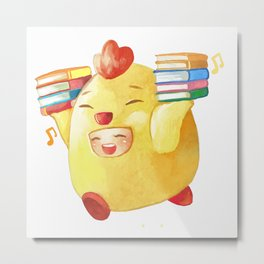 Cute Chicken With Books Metal Print