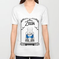 majora V-neck T-shirts featuring Zelda legend - Blue potion  by Art & Be