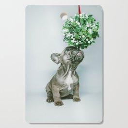 Christmas Pup Under Mistletoe (Color) Cutting Board
