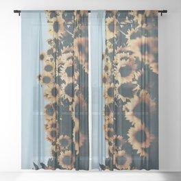 Vintage Sunflower Photograph Sheer Curtain