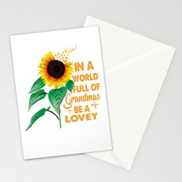 Womens In A World Full Of Grandmas Be a lovey Sunflower Butterfly Stationery Cards