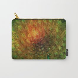 Peacock in Green Carry-All Pouch