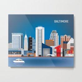 Baltimore, Maryland - Skyline Illustration by Loose Petals Metal Print