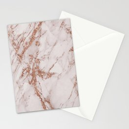 Abstract blush gray rose gold glitter marble Stationery Cards