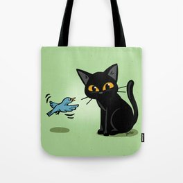 Talking with a bird Tote Bag