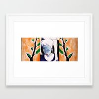 sister Framed Art Prints featuring sister by emily tea