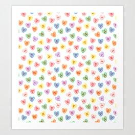 Conversation Hearts Art Print