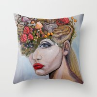 alice wonderland Throw Pillows featuring Wonderland by HeatherIRELANDArtz