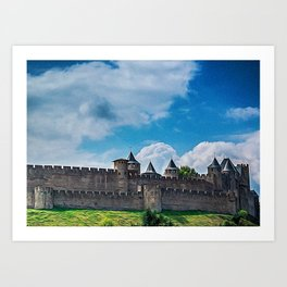 Foreshortening in the medieval citadel of Carcassonne, southern France Art Print