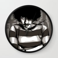phil jones Wall Clocks featuring Phil Lynott by Denis O'Sullivan