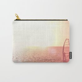 Windsurfer against of beautiful sea view. Unrecognizable. Pink toned. Carry-All Pouch