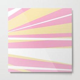 Girly baby pink yellow modern stripes pattern Metal Print
