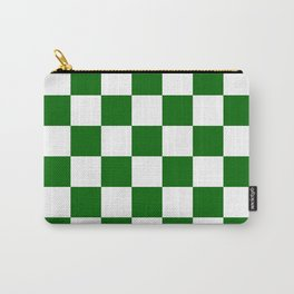 Checkered - White and Dark Green Carry-All Pouch