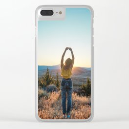 """""""Golden Hour Girl"""" - Sunset in Bend, Oregon Clear iPhone Case"""
