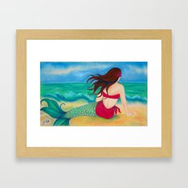 Thinking of You Mermaid, Hawaiiana Framed Art Print