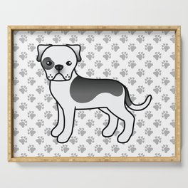 Black Piebald American Bulldog Dog Cartoon Illustration Serving Tray