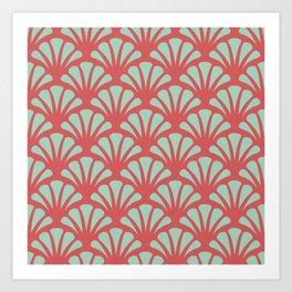 Coral and Mint Green Deco Fan Art Print