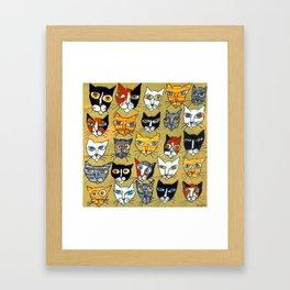 25 Cat Heads Framed Art Print