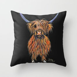 Scottish Highland Cow ' NED ' by Shirley MacArthur Throw Pillow