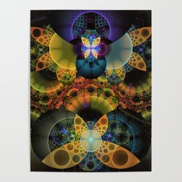 Autumn Butterfly Nexus of Amazing Fractal Colors Poster