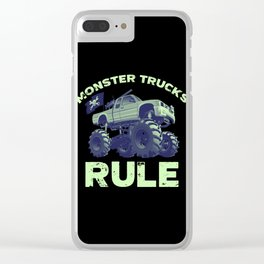 Awesome Monster Trucks Rule Funny Trucks Gift Clear iPhone Case