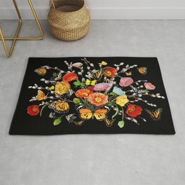 Black Butterfly Bouquet  Rug