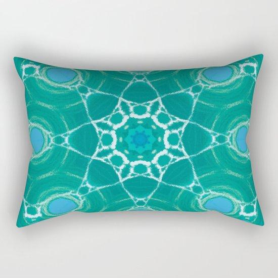 Cyan Star Mandala Rectangular Pillow