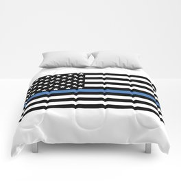 Blue Thin Flag Police Law Enforcement Flag Comforters