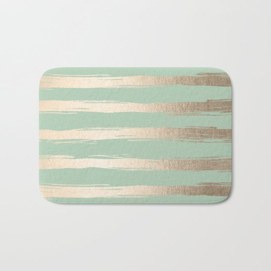 Simply Brushed Stripes White Gold Sands on Pastel Cactus Green Bath Mat